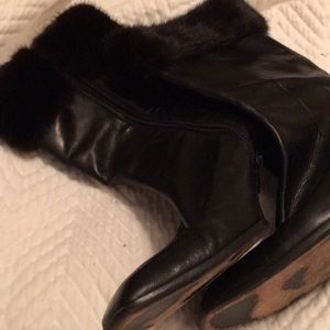 Cole Haan calf high boots with rabbit cuff.